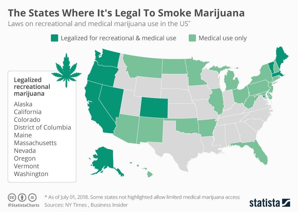 Chart: The States Where It's Legal To Smoke Marijuana
