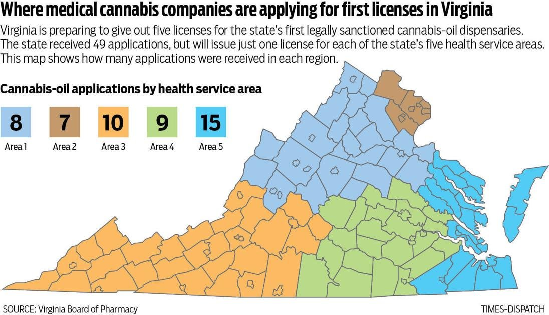 Virginia receives 49 applications for the state's first 5 medical cannabis licenses