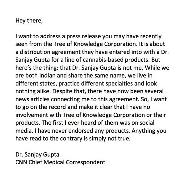 Sanjay Gupta responds after report falsely connects him to CBD product line
