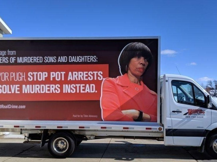 Baltimore | MOMS uses billboard to ask Mayor to end marijuana arrests, prioritize homicide investigations