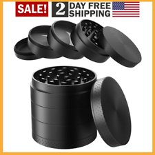 "Large Spice Tobacco Herb Weed Grinder-4 Pcs with Pollen Catcher 2.5"" Gift Black"