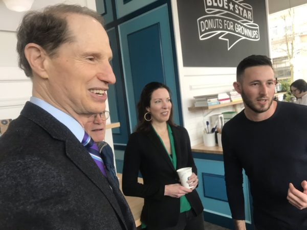Oregon's Sen. Wyden & Rep. Blumenauer tweeted photos of themselves celebrating a new hemp-based CBD donut from Blue Star Donuts.