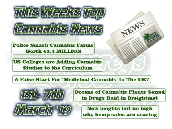 This Weeks Top Cannabis News. 1-7 March 2019.